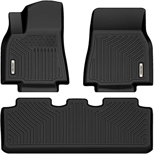oEdRo Floor Mats Compatible with 2020 Tesla Model Y Includes 1st and 2nd Row: Front & Rear Full Set Liner, Black TPE All Weather Guard
