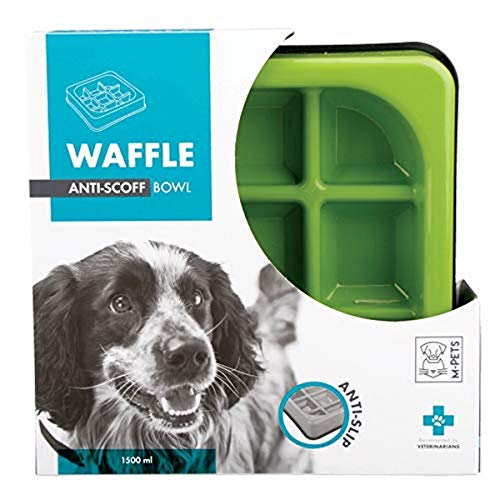 M-Pets M-Pets Waffle Slow Feed Bowl Light Green pour Chien Vert