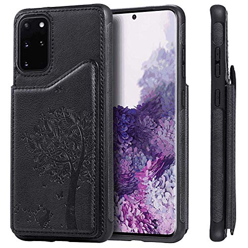 Black Card Holders Kickstand Extra-Shockproof Wallet Case for iPhone Xs PU Leather Flip Cover Compatible with iPhone Xs