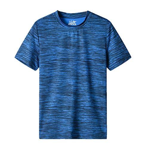 Atmungsaktives Sportshirt für Herren Sommer Große Größe Fitness T-Shirt Quick-Dry schnelltrocknend Trainings-Shirt Laufen Classic Basic Männer Crew Neck Jungen Kurzarmshirt O-Neck Kurzarm Sleeve