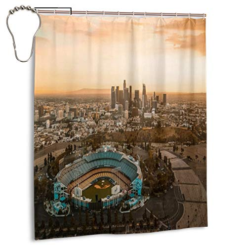 Shower Curtain Aerial View Of The Dodgers Stadium With The LA View Bathroom Curtain With Hooks Durable Waterproof Fabric Bath Curtain Sets 60x72inch