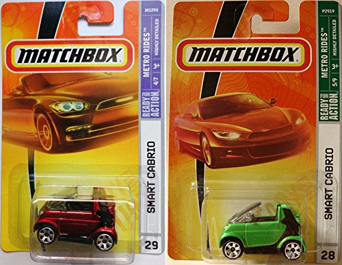 SMART CABRIO Matchbox MBX Metro Rides - Set of 2: Green & Red Semi Convertible Coupe Scale Collectible Die Cast Metal Toy Car Models #28 & #29