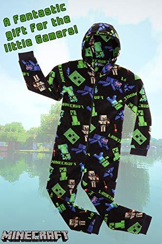 Minecraft Pijama Entero para Niños con Capucha, Pijamas Super Suaves de Una Pieza, Mono Disfraz Niño, Ropa de Dormir Invierno, Regalos para Niños Niñas Adolescentes 5-14 Años (Negro, 9/10 Años)