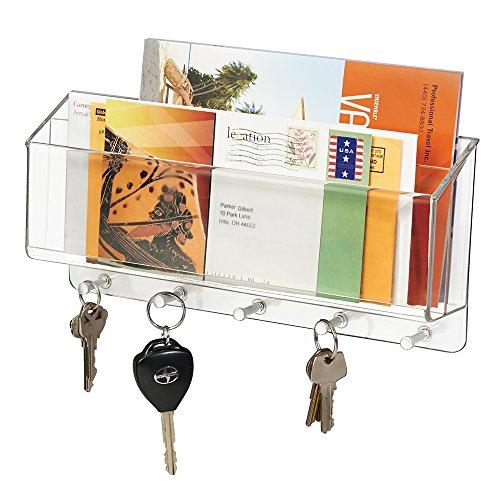 mDesign range courrier et boite à clés - pour le rangement de vos clefs, lettres et brochures - porte courrier mural - compartimenté - transparent