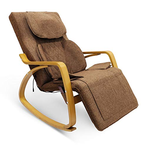Furgle Massagesessel mit Luftkompresse 3D Shiatsu-Massage, 8 Modi Relaxsessel für den ganzen Körper, Fernsehsessel mit Wärmefunktion,Liegesessel für Schulter Nacken Rücken Taille und Hüften(Hellbraun)