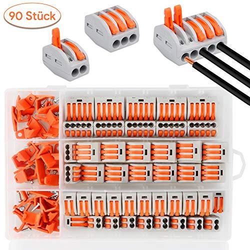 90 Stück Verbindungsklemme mit Hebel,Klemmen Set Elektro, 20 Stück Klemme 3 Polig, 10 Stück Klemme 5 Polig, 30 Stück Klemmen 2 Polig, 30 Stück Montagehalterung