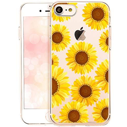 QULT Custodia Compatibile con Cover iPhone SE 2020, iPhone 7/8 Trasparente Silicone Fiori Morbida Chiaro Cristallo Anti-Scratch Bumper Case con Disegni Girasoli Gialli