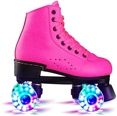 Xiaokang Roller Roller Kinder Mädchen mit Glitzer Doppelreihe Schlittschuhe Erwachsene Rollenschuhe Roller Figur...
