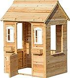 dobar 94810FSCe Garten-Spielhaus mit Blumenkästen, Holzhaus für Kinder, 107 x 94 x 114,5 cm, Natur
