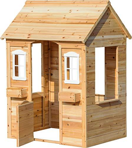 dobar 94810FSCe ogrodowy domek do zabawy ze skrzynką na kwiaty, drewniany domek dla dzieci, 107 x 94 x 114,5 cm, naturalny