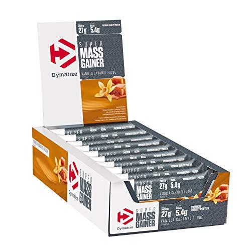 Dymatize Super Mass Gainer Bar Vanilla Caramel Fudge 10x90g - High Protein Weight-Gainer Riegel + Whey und Casein Protein