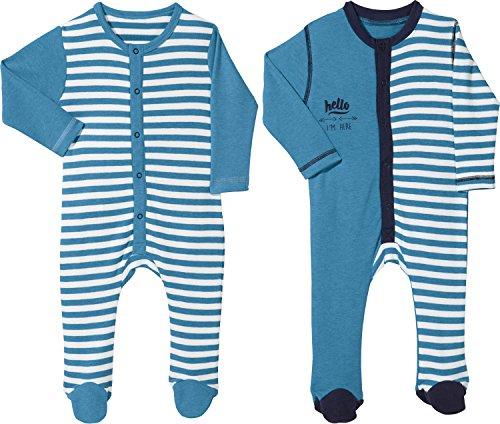 Erwin Müller Baby-Schlafanzug 2er-Pack mit Druckmotiv Interlock-Jersey blau/weiß Größe 74 / 80