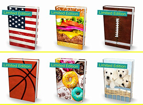"""Book Sox Stretchable Book Cover: Jumbo 6 Print Value Pack Fits Most Hardcover Textbooks up to 9"""" x 11"""". Adhesive-Free, Nylon Fabric School Book Protector. Wash & Re-Use"""