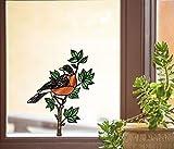 Bird - American Robin - Stained Glass Style See-Through Vinyl Window Decal - Yadda-Yadda Design Co. (5.5'w x 7'h) (MD)