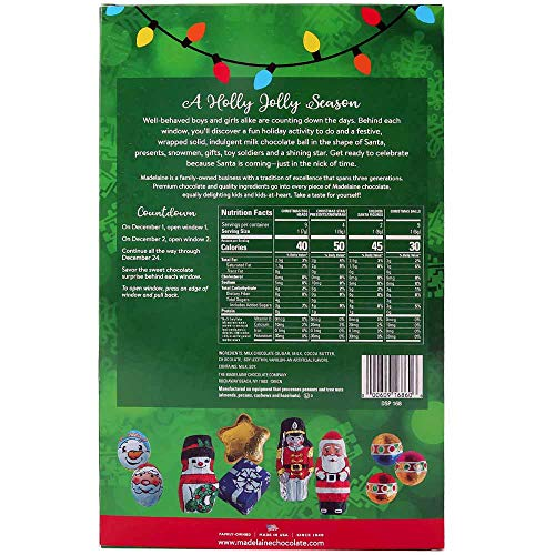 Madelaine Chocolate A Holly Jolly Christmas Countdown Advent Calendar, Filled With (6oz - 170g) 24 Solid Premium Milk Chocolate Christmas Themed Holiday Surprises (1 Pack)
