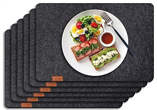 TYLINK Tischset Filz 18 Teilig Platzsets Abwischbar Platzdecken Schwarz - 6er 44 x 30 cm Platzset, Untersetzer Rund und Besteckbeutel für Küche Familie Picknick