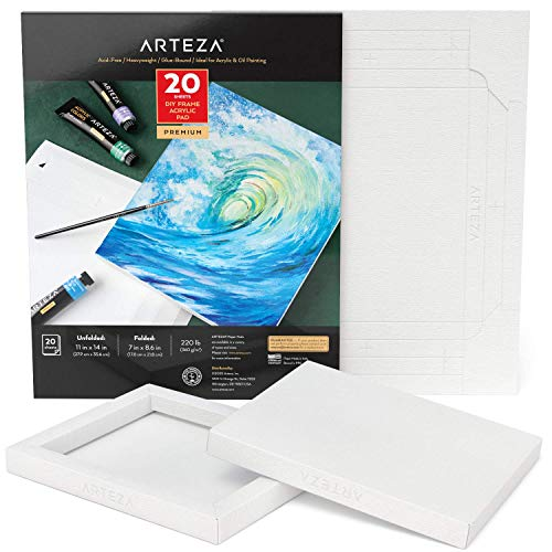 Arteza DIY Frame, Acrylic Art Paper Pad, 11x14 Inches, 20 Sheets, Heavyweight Acrylic Paint Paper, 220 lb, 360 gsm, Acid-Free, Wood Pulp Canvas Pad for Painting & Mixed Media Art