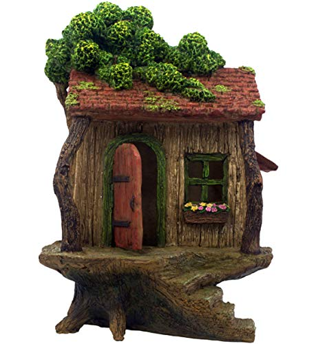 "PRETMANNS Fairy Garden House – Large Fairy Tree House with a Door That Opens – 9"" High - Fairy Garden Supplies"