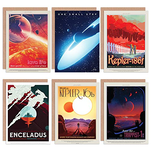 NASA Space Travel Tour Lava Life Kepler 186f 16b Enceladus Trappist 1e All Occasions Various Assorted Blank Greeting Cards with Envelopes Pack of 6 Platz Reise Leben