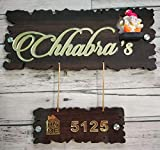 Aarushi Creations Wooden with Golden Acrylic Embossed Letters with Mirror Shine Personalised Home Door Name Plate (Dark Brown, 13 x 12 Inches)
