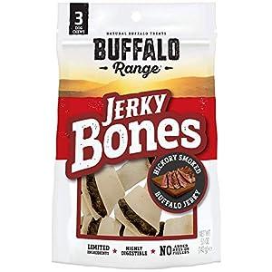 Buffalo Range Rawhide Dog Treats | Healthy, Grass-Fed Buffalo Jerky Raw Hide Chews | Hickory Smoked Flavor | Jerky Bone, 3 Count Packaging may vary