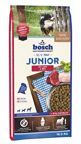 Bosch HPC Junior con cordero y arroz   Alimento seco para perros para criar cachorros nutricionalmente sensibles, 1 x 15 kg