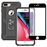 Yiakeng Funda Apple iPhone 7 Plus / 8 Plus New Edition Carcasa con Protector Pantalla Cristal Templado, Silicona Armor Case con Kickstand para Apple iPhone 7 Plus / 8 Plus (Negro)