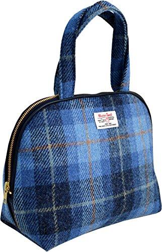 Vagabond Bags Harris Tweed Blue Check Handled Bag Trousse de toilette, 26 cm, Bleu (Mid Blue)