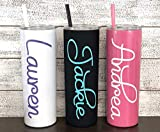 Personalized 20 oz Stainless Steel Skinny Tumbler with Custom Monogram Vinyl Decal by Avito - Includes Straw and Lid - Bridesmaid, Bachelorette, Bridal Party Gifts
