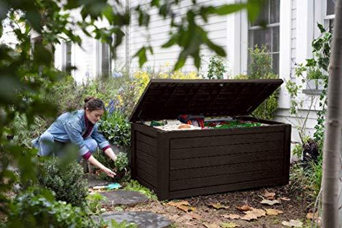 Ondis24 Keter Kissenbox Brushwood Box 630L, Sitztruhe 2 Personen, XXL Gartenbox gebürstete Holzoptik, Auflagenbox Kissentruhe regensicher, Garten Sitzbank