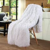 Merit Home Shag with Sherpa Reversible Warm Throw Blanket, Ultra Soft, Cozy Plush Luxury Fuzzy Longfur Blanket, Hypoallergenic and Washable Couch Bed Fluffy Furry Throws Photo Props, 50x60-Pure White