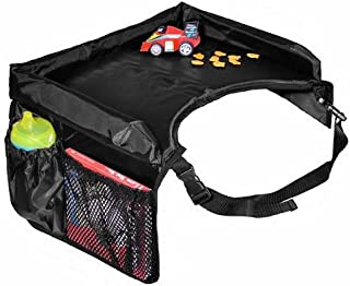 Star Kids Snack & Play Travel Tray - Easy To Clean Nylon With Mesh Pockets, Cup Holder & Reinforced Sides. Keeps Snacks Of...