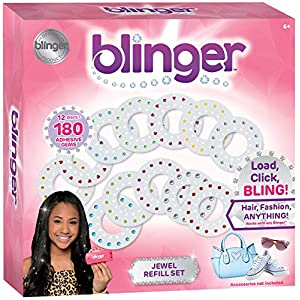 Blinger Jewel Refill Set – Includes 180 Gems in Multiple Shapes and Colors