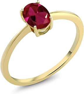 10K Yellow Gold Red Created Ruby Solitaire Women's Engagement Ring 0.90 Ct Oval (Available 5,6,7,8,9)
