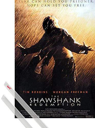 1art1 Cadena Perpetua Póster (98x68 cm) Rain, Tim Robbins, Morgan Freeman Y 1 Lote De 2 Varillas Transparentes