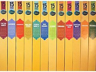 Spa Nag Champa Incense人気Fragrances Sampler?–?12ボックス(15?Sticks Ea) Nag Champa、サンダルウッド、パチュリ、ラベンダー、ジャスミン、ムスクFrankincense Himalayan杉、フランス語、バニラ、エジプト、Kashmirローズ&シナモン