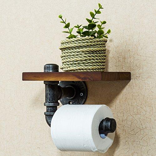 Wand-saug holz wc-papierhalter, Klebstoff + 3m selbstklebend, Toilettenpapierhalter ohne bohren-A