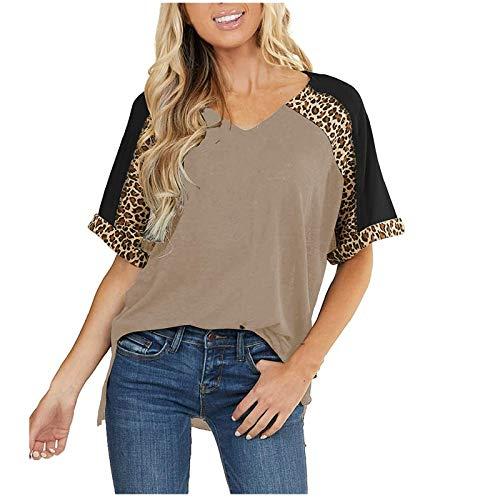 YANFANG Camisas Sueltas Informales con Cuello en v y Manga Corta Estampado de Leopardo para Mujer,Tops tnica Mujer Camiseta,Negro,Azul,Caqui