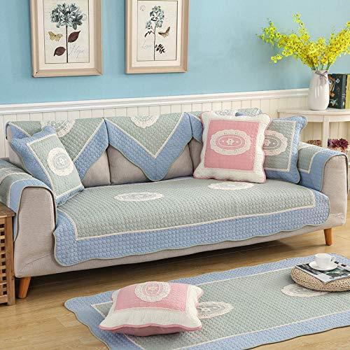Homeen Funda de sofá duradera para muebles, protector de sofá de salón, fundas de sofá de algodón, funda acolchada suave, funda de sofá bordada de 2/3/4 plazas, azul gris_90 x 90 cm