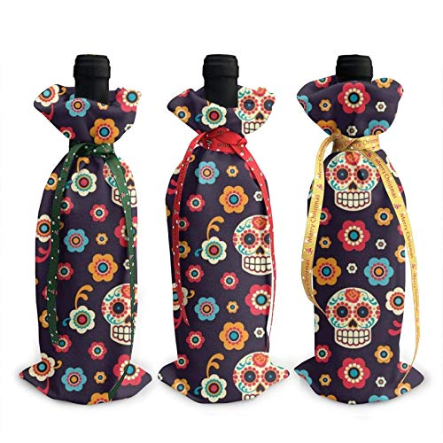 Sugar Skulls Printed Wine Bottle Cover Decoration Cover Bags, for Christmas Wine Tasting Party Supplies