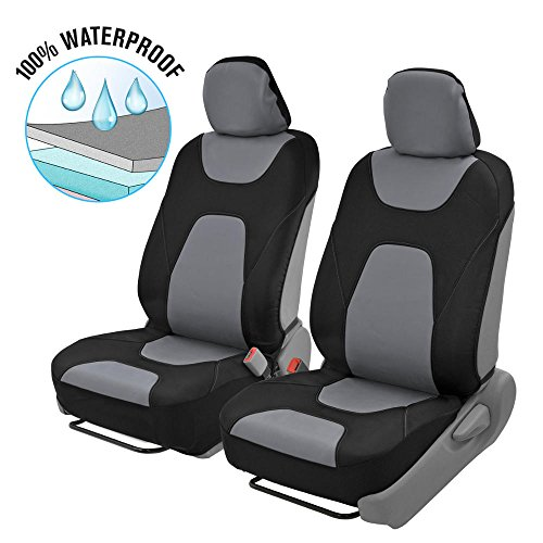 Motor Trend - OS274 AquaShield Car Seat Covers, Front – 3 Layer Waterproof Neoprene Material with Modern Sideless Design, Universal Fit for Auto Truck Van SUV