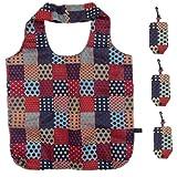 Lot de 3 sacs de courses réutilisables pour femme pliables et lavables, Country Red, L