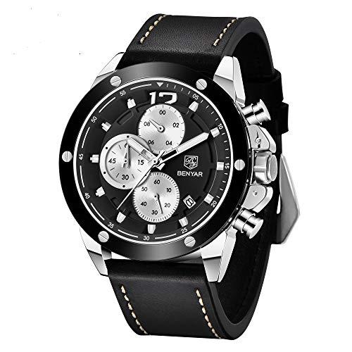 BY BENYAR Cuarzo Cronógrafo Reloj de Hombre Analógico Casual Impermeable Deportivo Relojes de Pulsera para Hombres