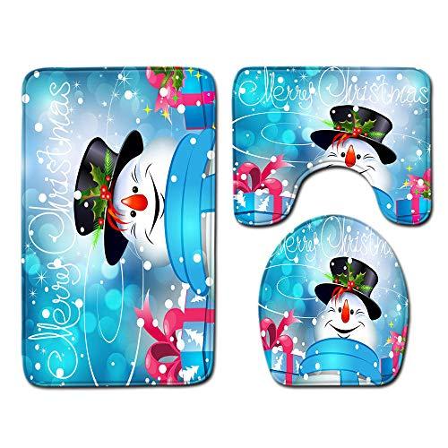 Asiento De Inodoro 3 Unids / Set Feliz Navidad Antideslizante Alfombrilla De Baño Alfombrilla De Suelo Alfombra De Pedestal Absorbente Tapa Cubierta De Inodoro Decoración Juego De Baño-No-7_50X80