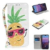 Nadoli Lederhülle für Huawei P20 Pro,3D Standfunktion Pu Leder Flip Brieftasche Handyhülle Ananas Wallet Tasche Etui für Huawei P20 Pro,Ananas -