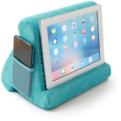 Pillow Tablet Stand Multi-Angle Soft Tablet Stand Holder Storage Pocket Docket for Bed Smartphones E-Readers Books Children