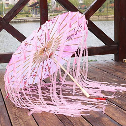 Piner Zijden Doek Kant Paraplu Vrouwen Kostuum Fotografie Props Kwastjes Paraplu Garen Chinese Klassieke Olie-papier Paraplu Parasol, ROZE PERZIK B