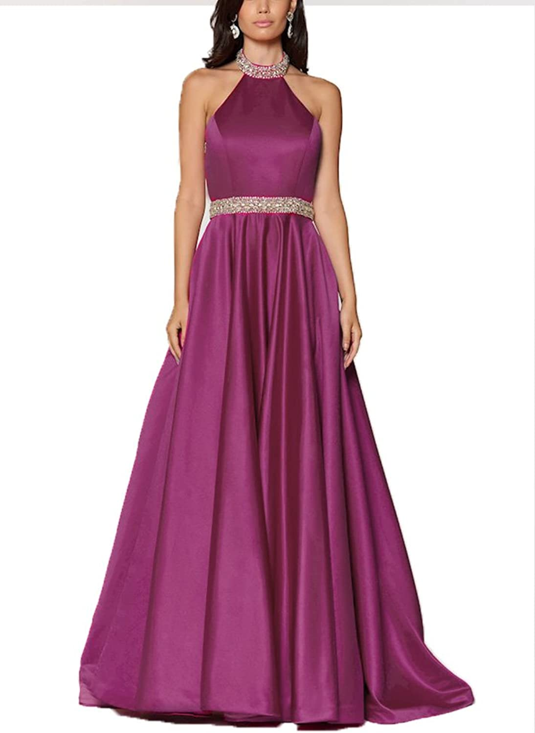 Awishwill Women's Off Shoulder Beaded Prom Dress Long Satin Evening Formal Party Gown