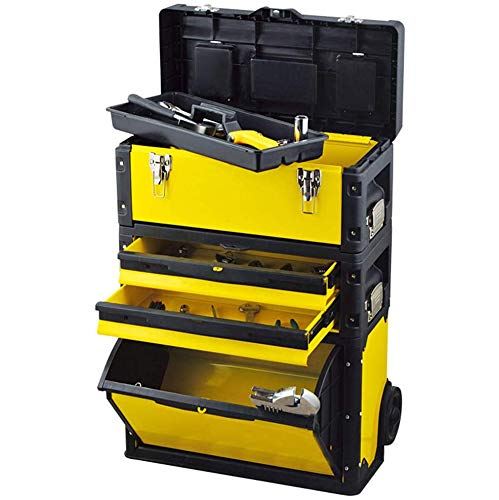 Toolbox Rolling Mobile Organizer met telescopische Comfort handgreep - Upright Pack Out Kar met wielen en lades,Yellow