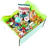 Süßigkeiten Mix Vegan Geschenk Box mit Fruchtgummi, Waffeln, Bonbons, Lutschern, Retro Sweets uvm. (1 x 710g)